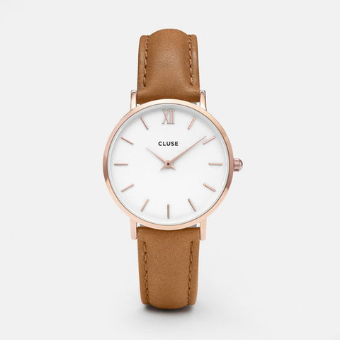 Cluse Minuit Rosegold White/Caramel Leather Watch