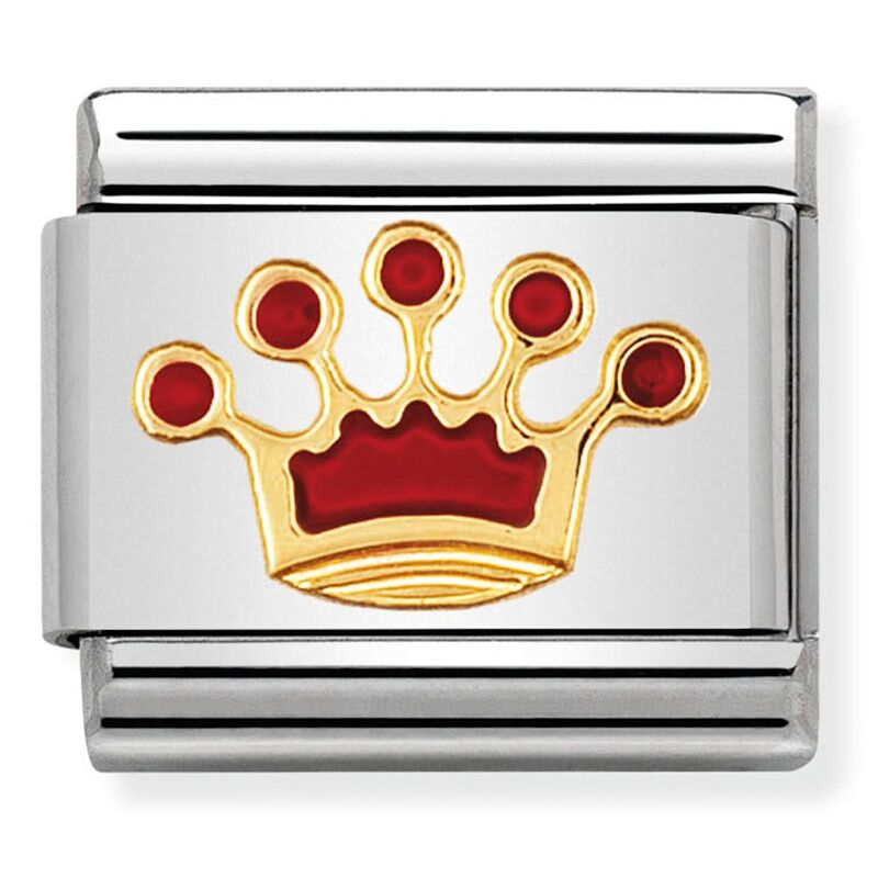 Queen Crown Red Enamel Gold Charm