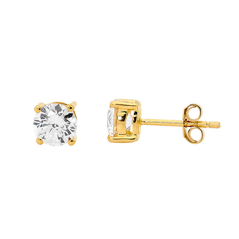 CZ Claw Set Gold Stud Earrings