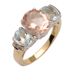 Morganite and Aquamarine Diamond Ring