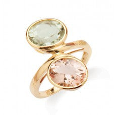 Green Amethyst and Morganite Gold Ring