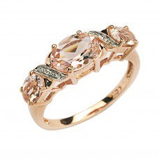 Morganite and Diamond Rosegold Ring