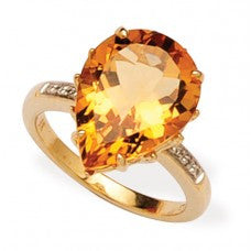 Citrine Diamond Ring