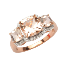 Morganite & Diamond Ring - Rose Gold