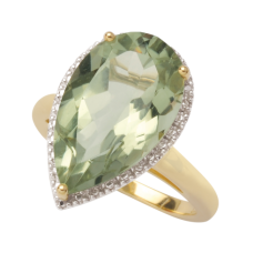 Teardrop Green Amethyst and Diamond Ring