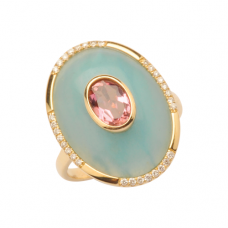 Amazonite/Pink Tourmaline & Diamond Ring