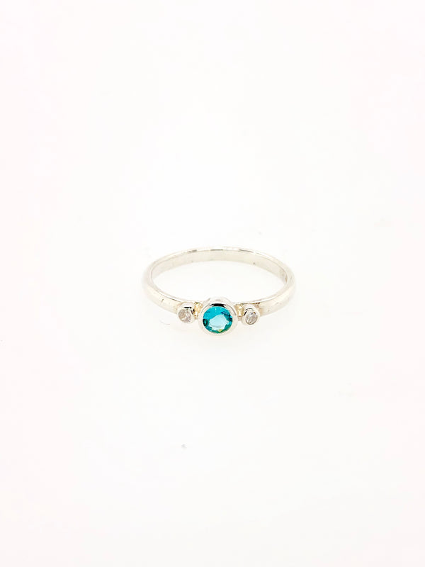Silver Birthstone Ring - March