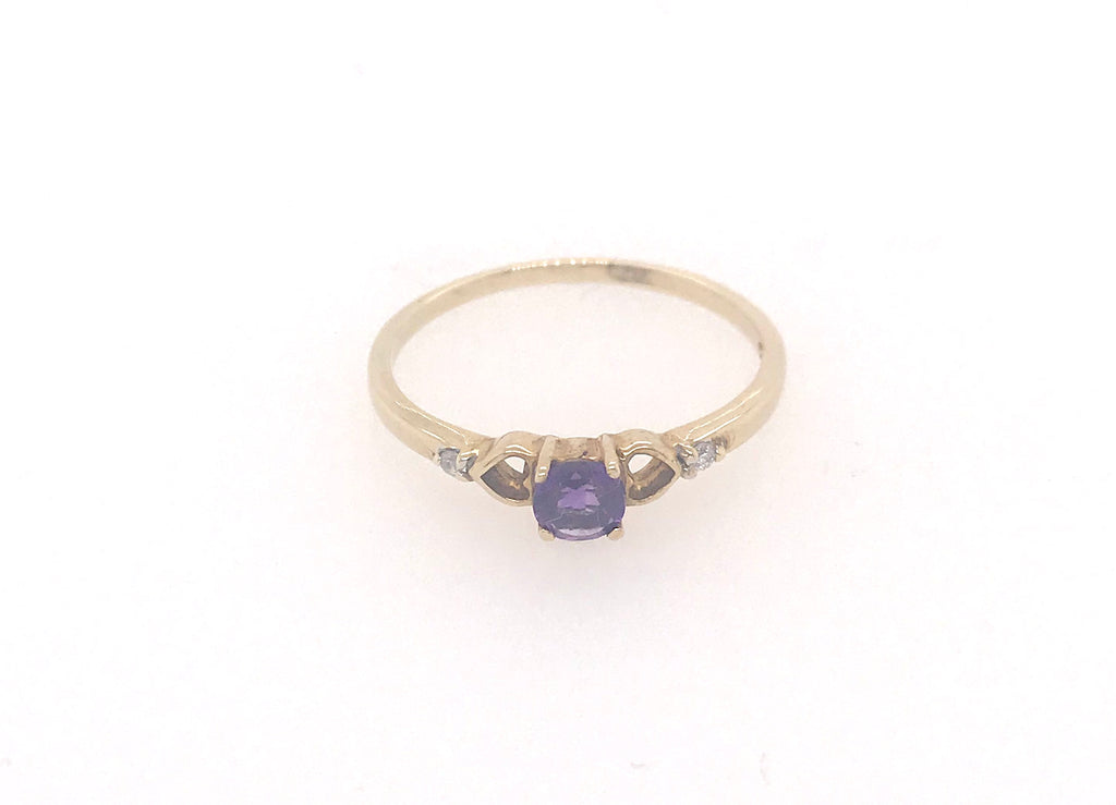 Amethyst and Diamond Yellow Gold Ring