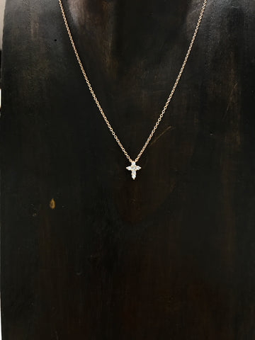 Sparkling Cross Necklace in Rosegold