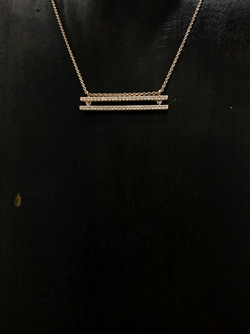 Double Bar Necklace in Rosegold