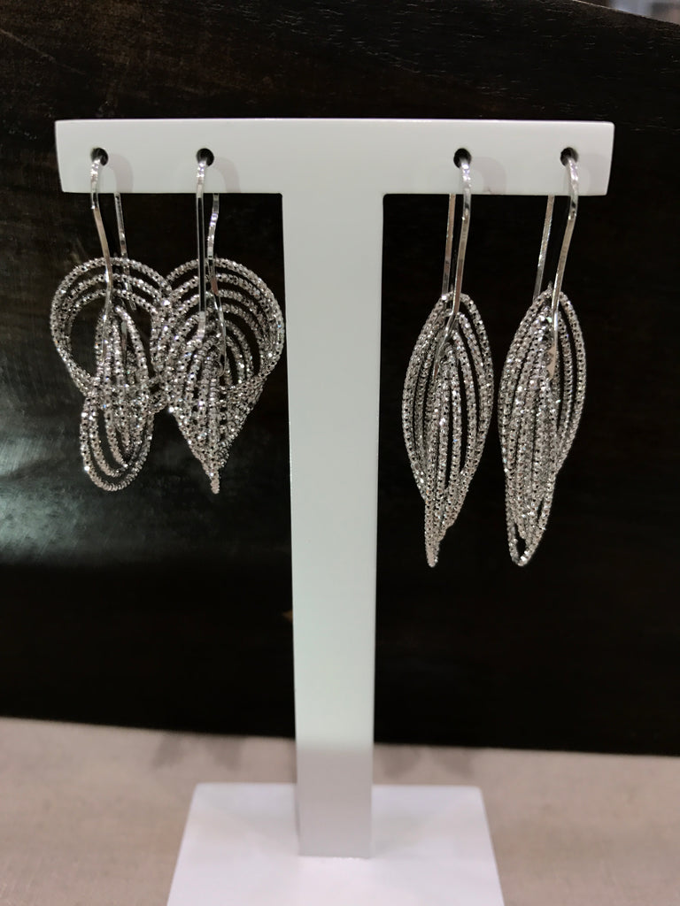 Multi-Link Drop Silver Earrings