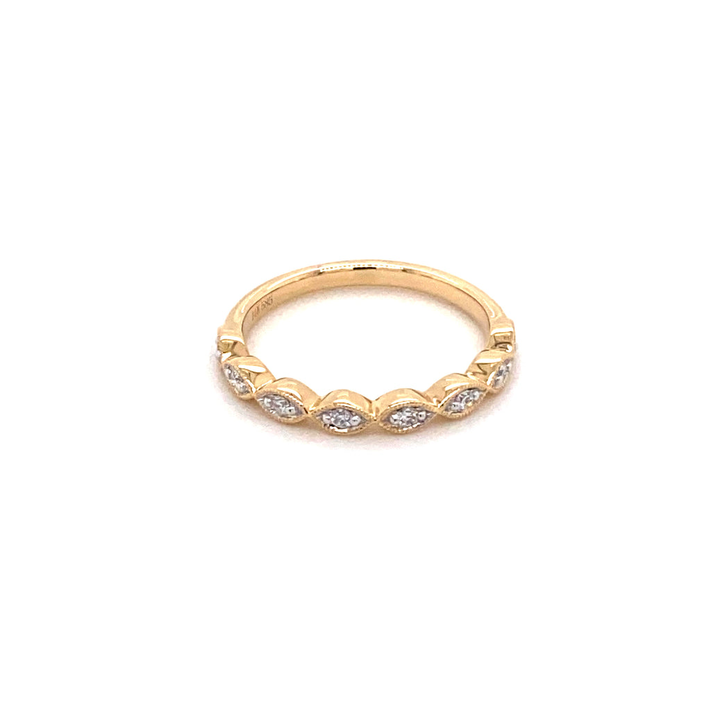 Marquise Diamond Yellow Gold Stacker Ring