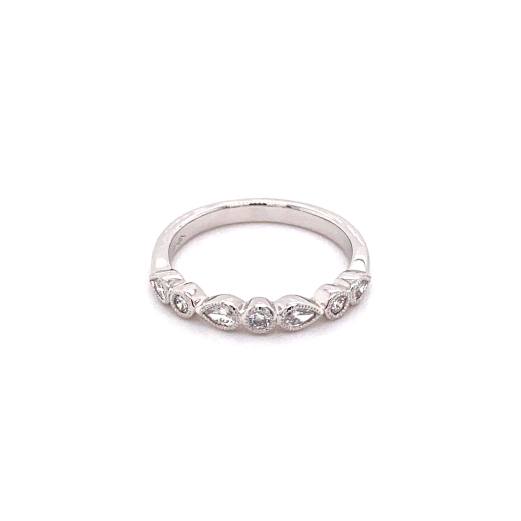 White Gold Teardrop and Round Diamond Band