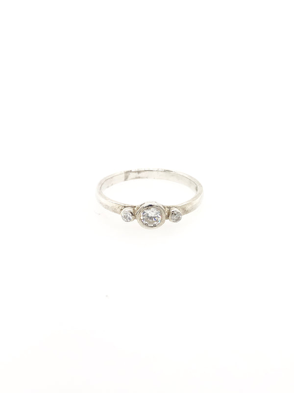 Silver Birthstone Ring - April