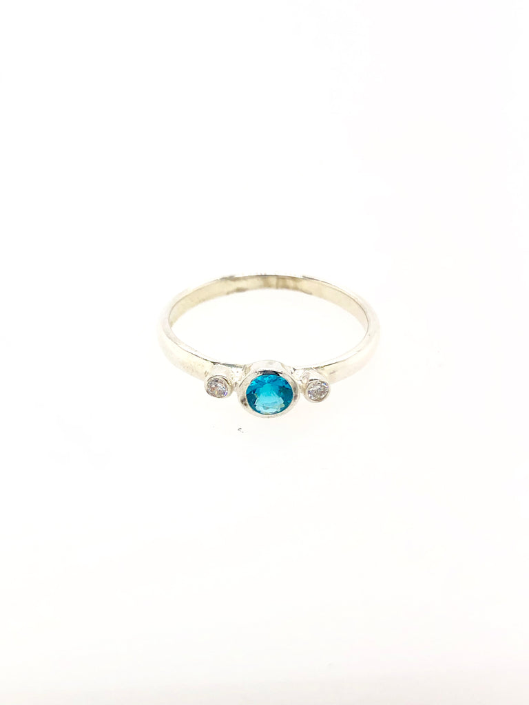 Silver Birthstone Ring - December