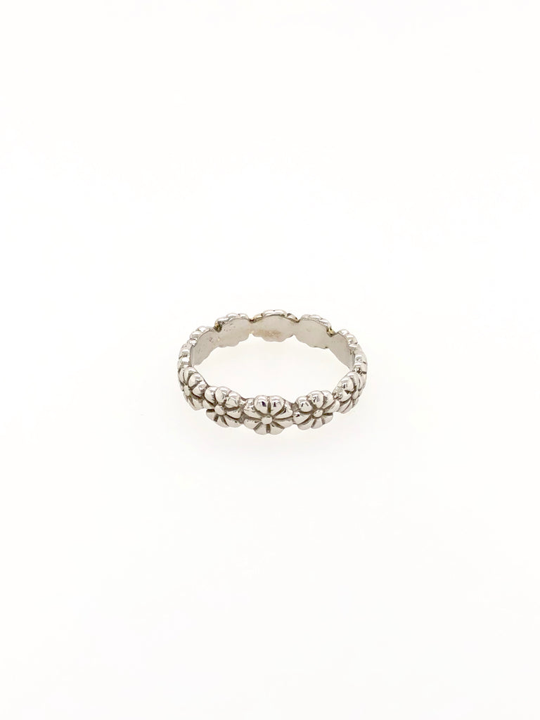 Flower White Gold Ring