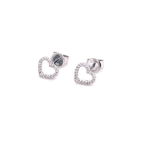 Heart Stud 18ct Whitegold Earrings
