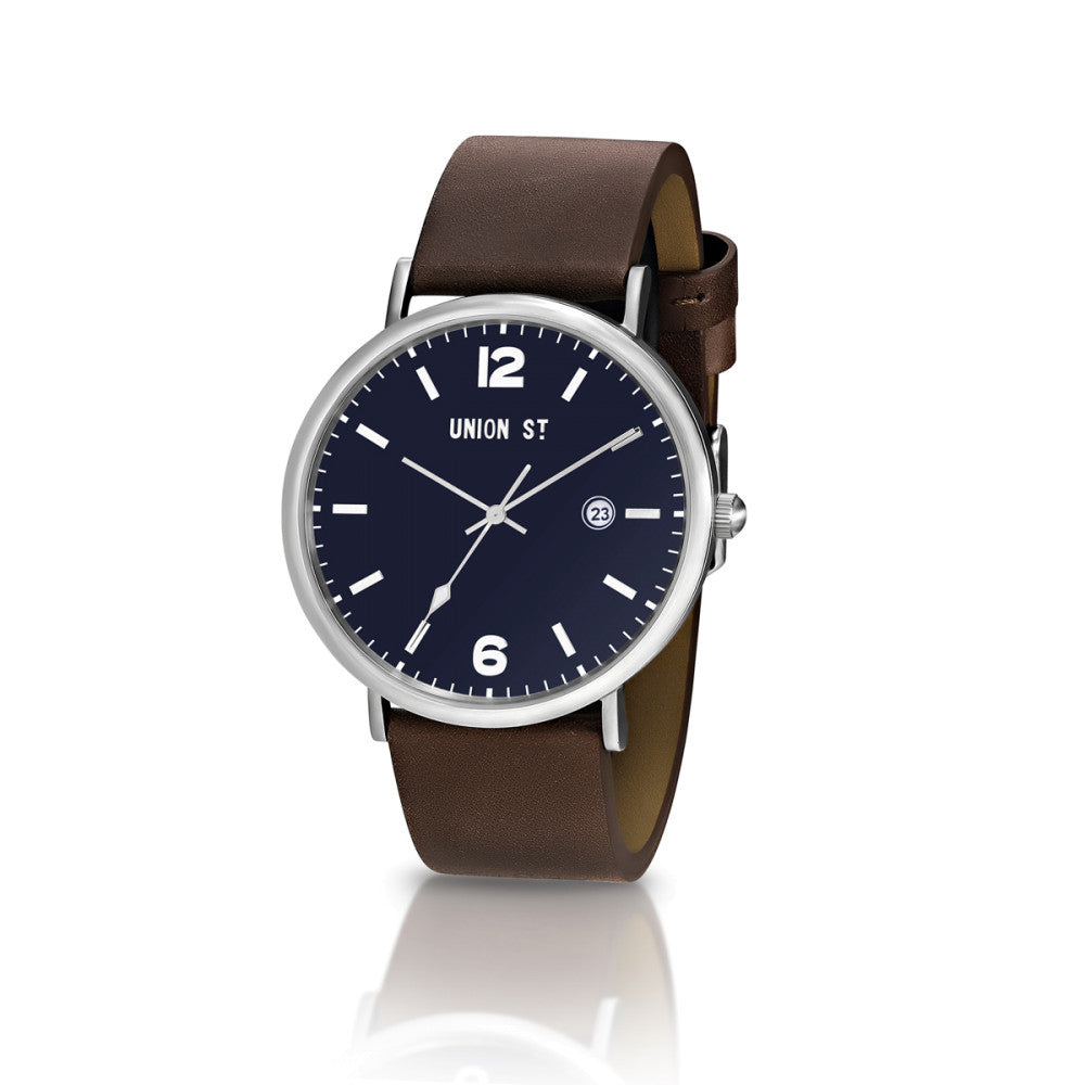Navy Blue Sunray Dial with Chocolate Leather Band