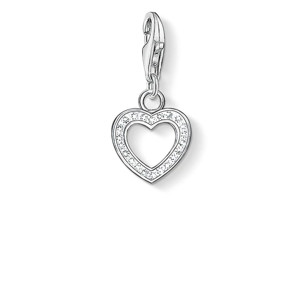 Small Open CZ Heart Charm