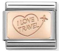 I Love Travel Rosegold Charm