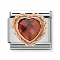 Red CZ Heart Rosegold