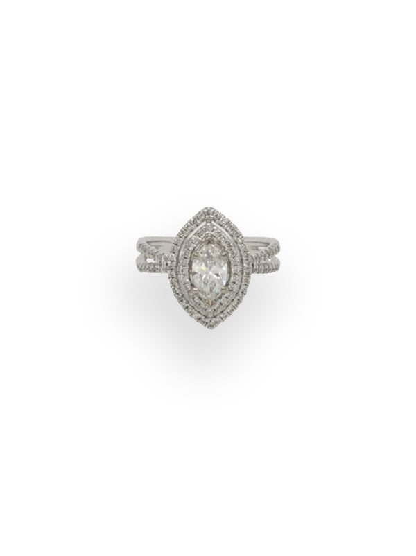 Marquise Diamond Ring with Double Halo