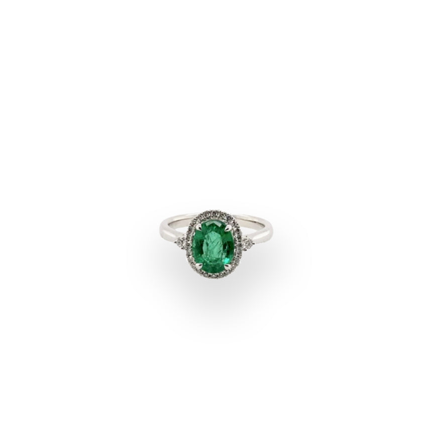 Oval Emerald 1.61ct White Gold Ring