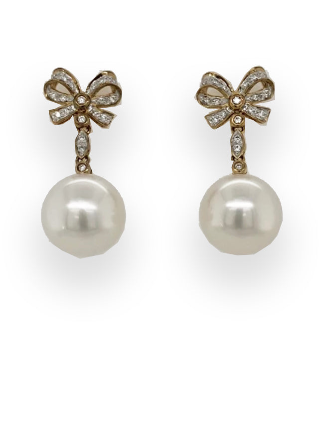 Ribbon Bow Pearl Earrings