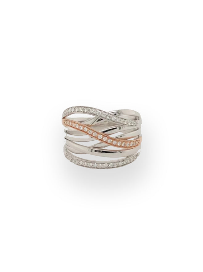 Rose and White Gold Crossover Ring