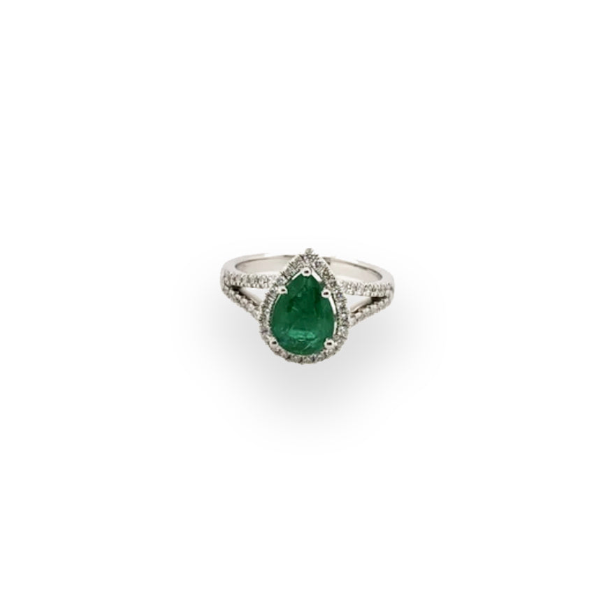 Teardrop Emerald with Diamonds White Gold Ring