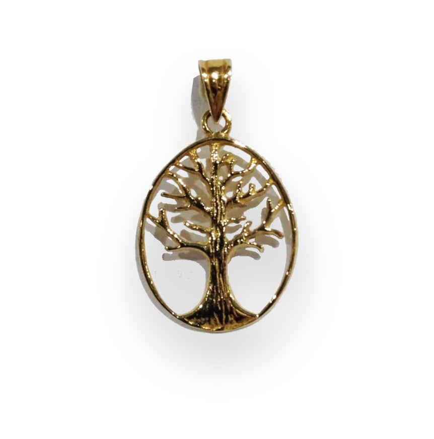 Tree of Life Gold Oval Pendant