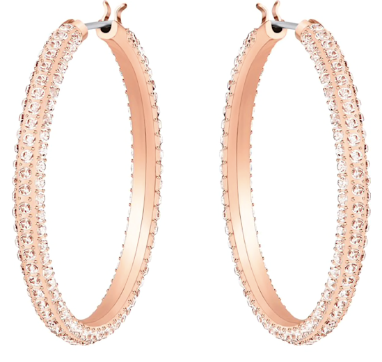 Stone Hoop Earrings in Rosegold