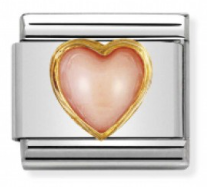 Pink Coral Heart Gold Charm