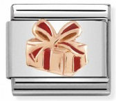 Gift with Red Ribbon Rosegold Charm