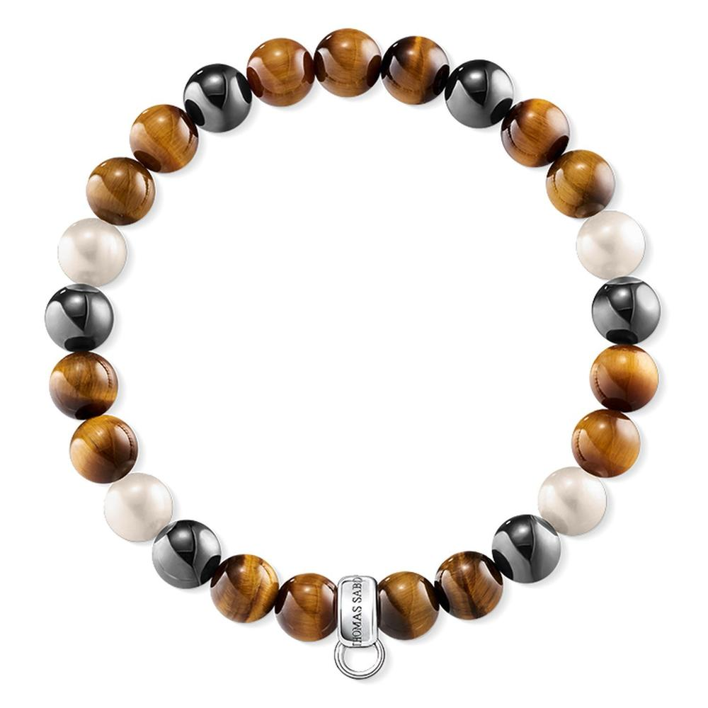 Charm Bracelet - Tigers Eye, Hematite and Pearl
