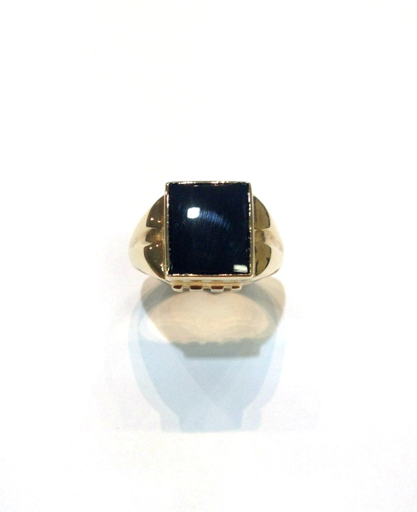 Square Onyx Gold Ring