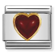 Red Agate Heart Gold Charm