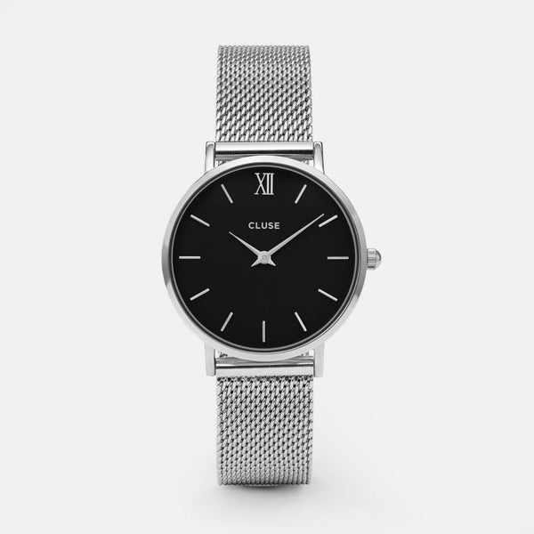 Cluse Minuit Mesh Silver/Black Dial Watch CL30015