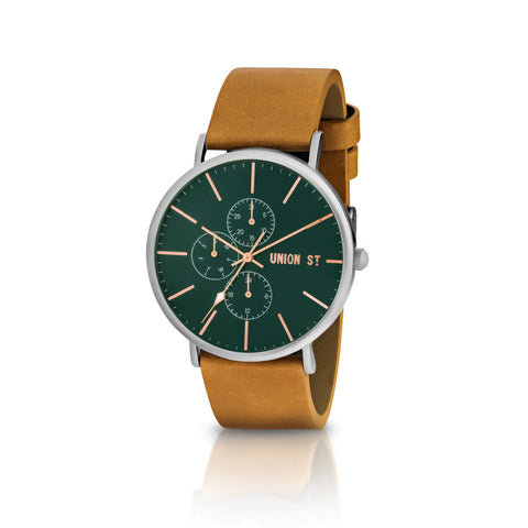 Green Chronograph Dial with Tan Leather Band