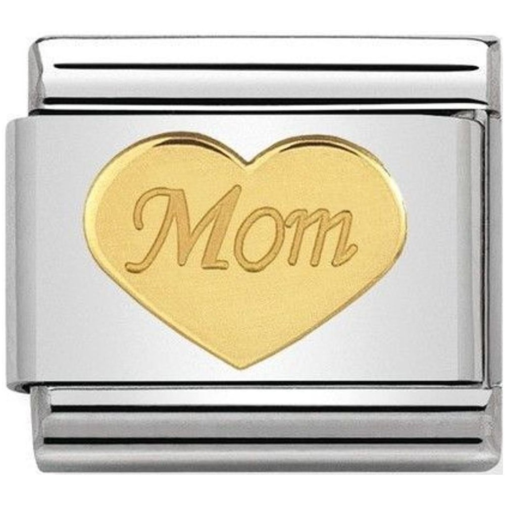 Mom Heart 18ct Gold Charm