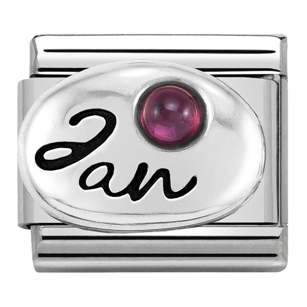 January (Garnet) Birthstone Silver Charm