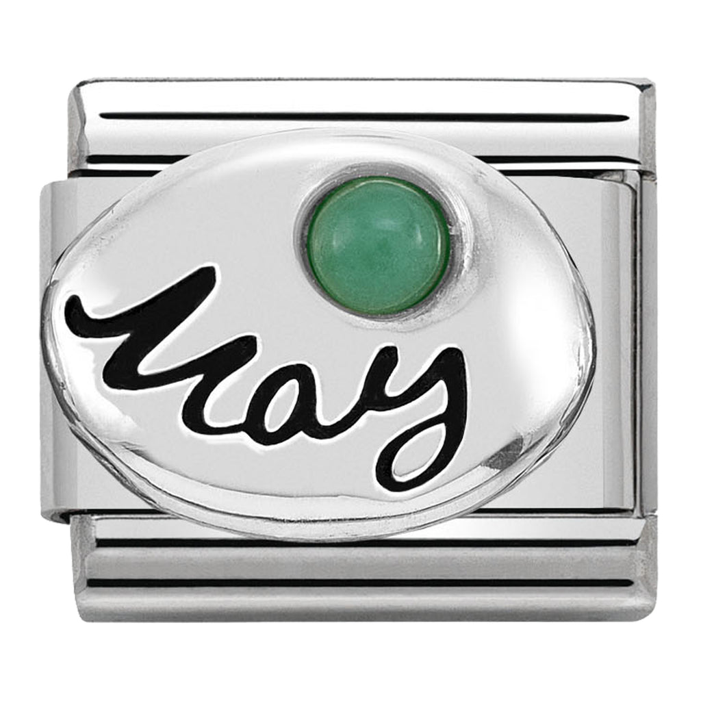 May (Emerald) Birthstone Silver Charm