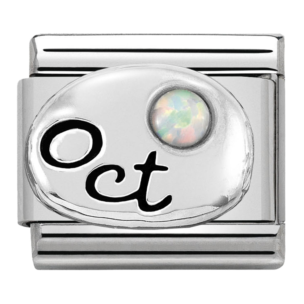 October (White Opal) Birthstone Silver Charm
