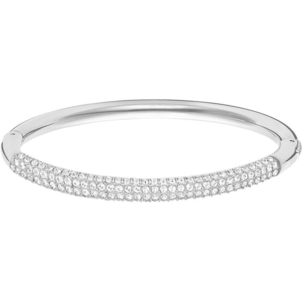 Stone Mini Bangle in Rhodium