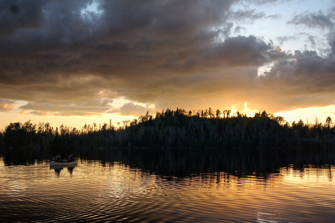Paddling on Gillis Lake at dusk in the BWCA.