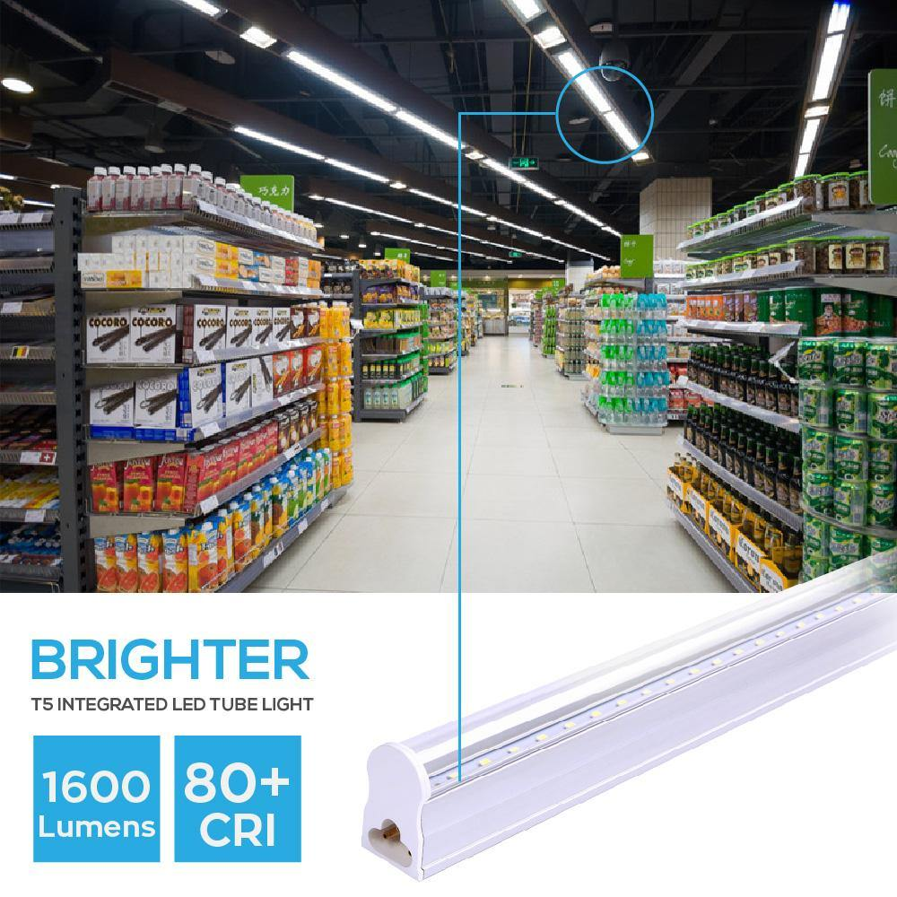 T5 LED Tube Light Integrated Single Fixture Clear Cover 20-pack-LUMINOSUM Officail Online Store