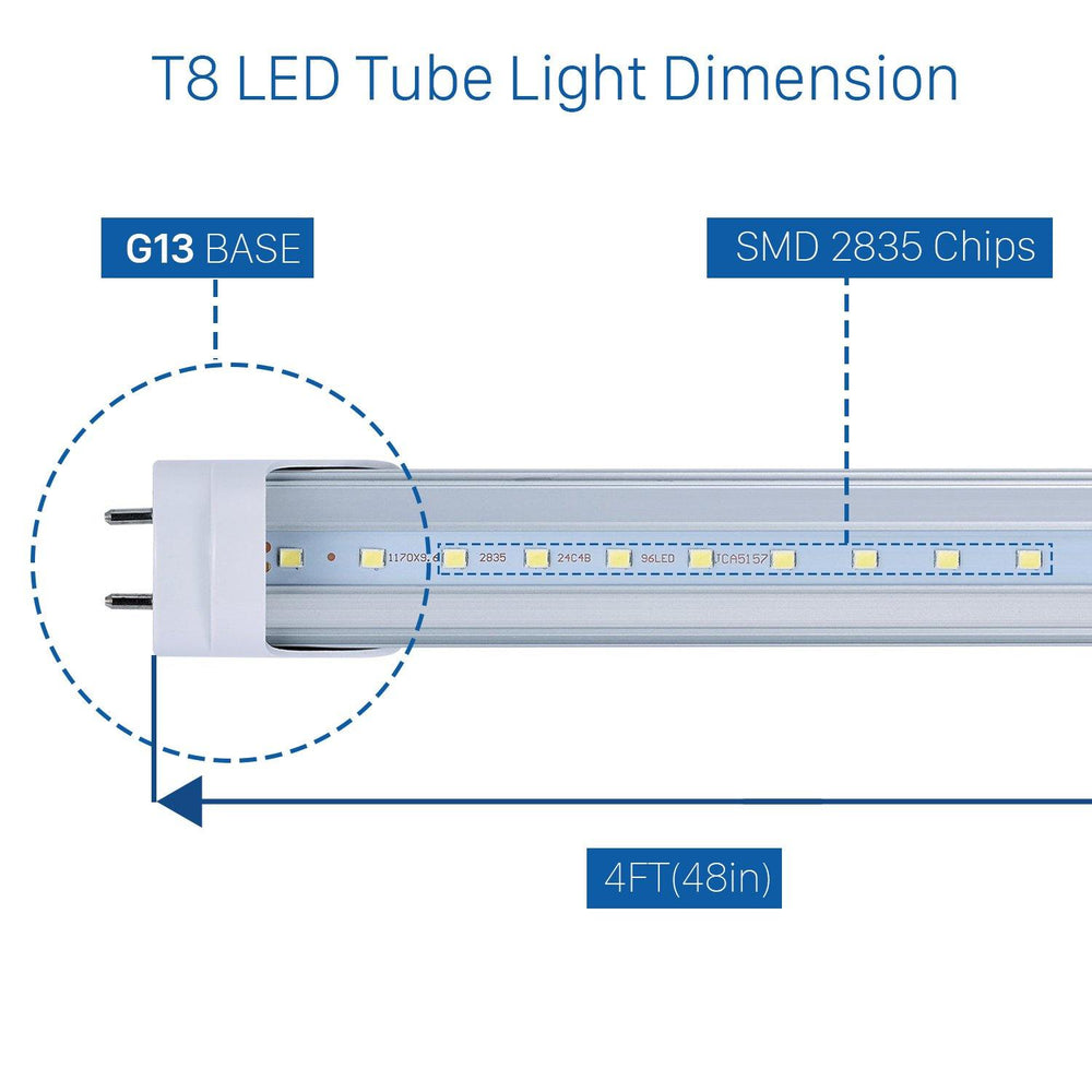 T8 T10 T12 LED Tube Lights 4ft 20W Clear Cover 10-pack-LUMINOSUM Officail Online Store