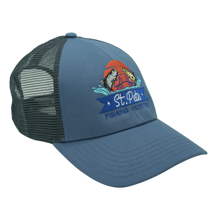 SPFO Blue Stream Simms Blank Trucker Hat