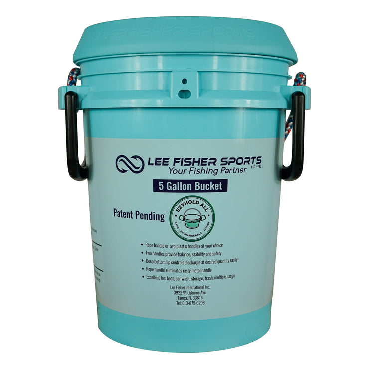 BUCKET PAL- 5 GALLON BUCKET WITH LID, PRINTED LEE FISHER SPORTS LOGO - Lee Fisher Sports
