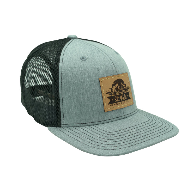 SPFO Grey&Black Leather Patch Hat